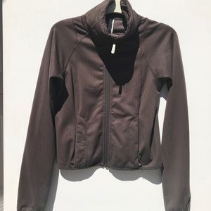 LULULEMON herringbone Brown Jacket 2 zip euc